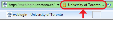 In Internet Explorer, University of Toronto and a padlock image appear in the address bar
